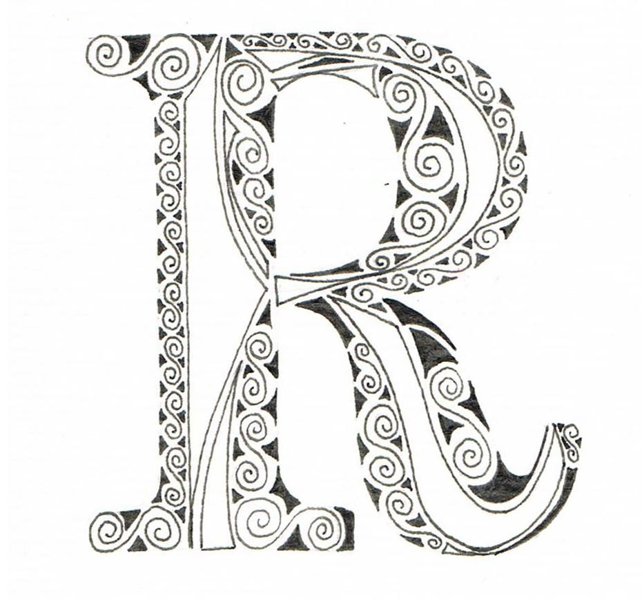 Ornate+Scrolled+Alphabet+R.jpg | coloring | Pinterest ...