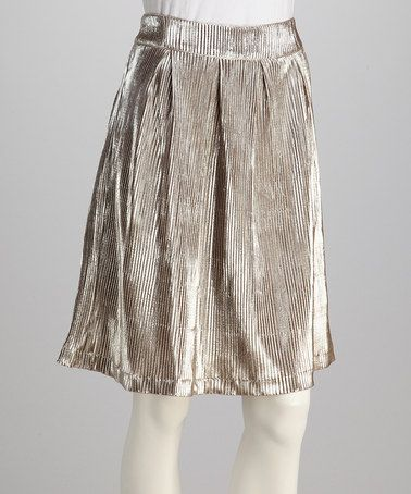 Take a look at this Silver & Taupe Pleated Skirt by I. Madeline on #zulily today!
