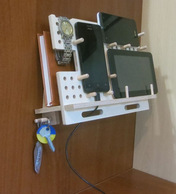 Wall mount iPad stand, docking station, wooden tablet holder