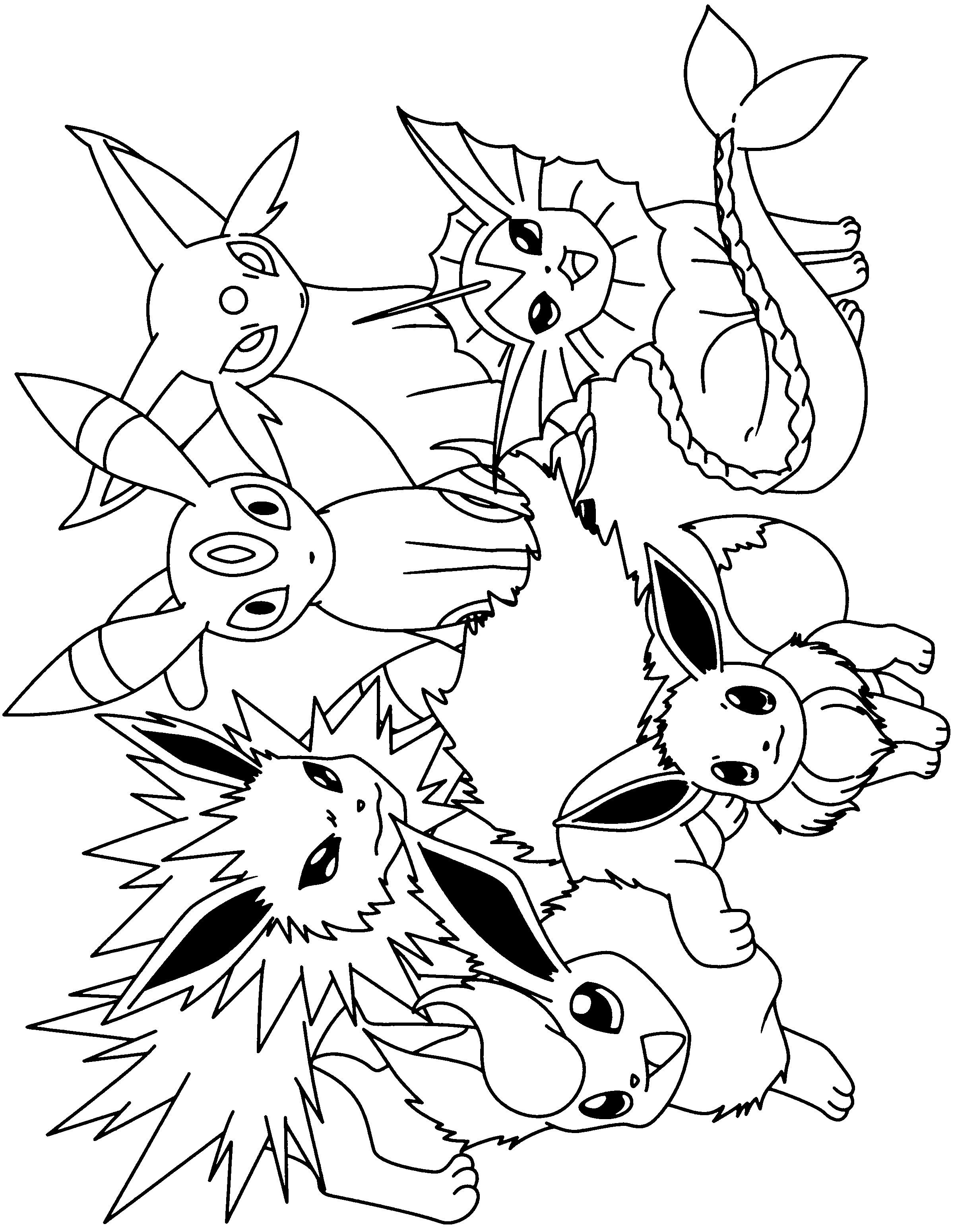 Pokemon Coloring Pages Eevee Evolutions Together Best Of