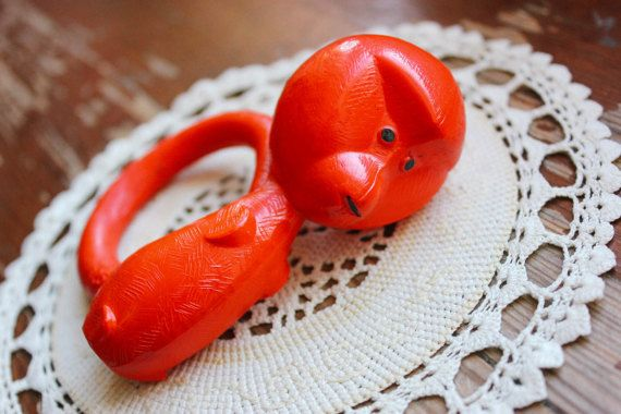 Soviet Celluloid Rattle / Red Monkey 1960's by LittleMonstersStore