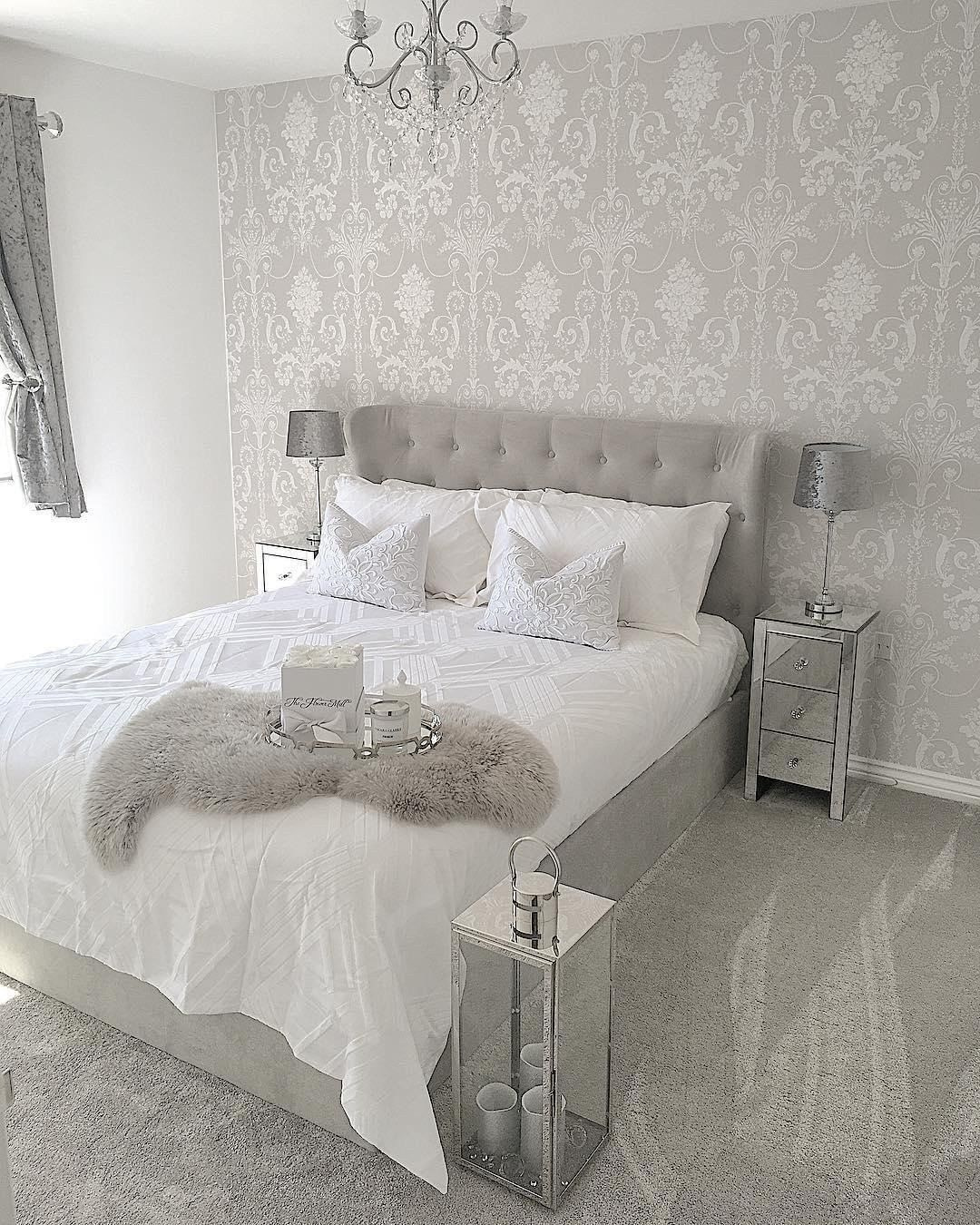 White And Silver Bedrooms Ideas 24 Stunning Grey And Silver Bedroom Ideas With Images In 2020 Silver Bedroom Grey Bedroom Design Grey Wallpaper Bedroom
