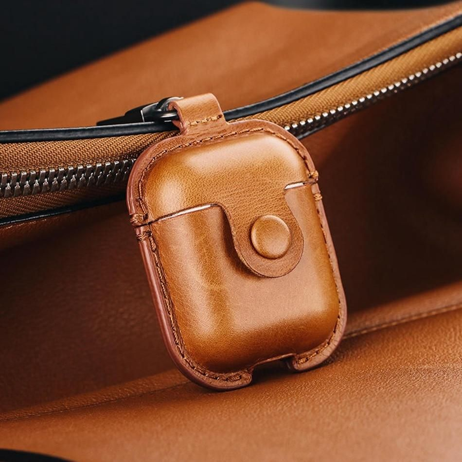 Headphone Case For Airpods Leather Case Luxury Genuine Cover For Apple Airpods 2 Case Air Pods Earpods Accessories Earphone Bags Leather Case Leather Apple Airpods 2