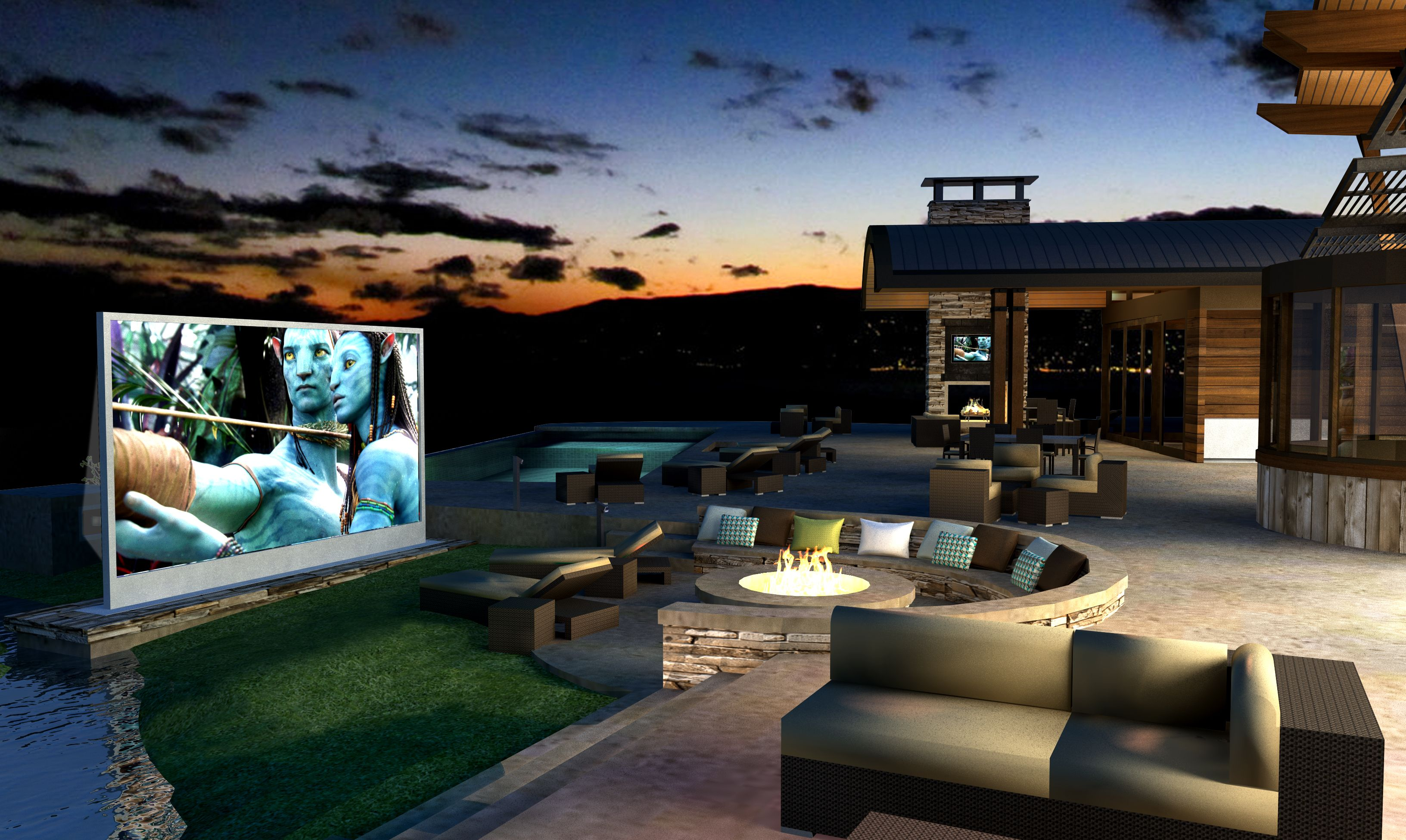 This is a cgi--I like the outdoor screen/firepit, but find the fireplace/ flat screen TV a little redundant.