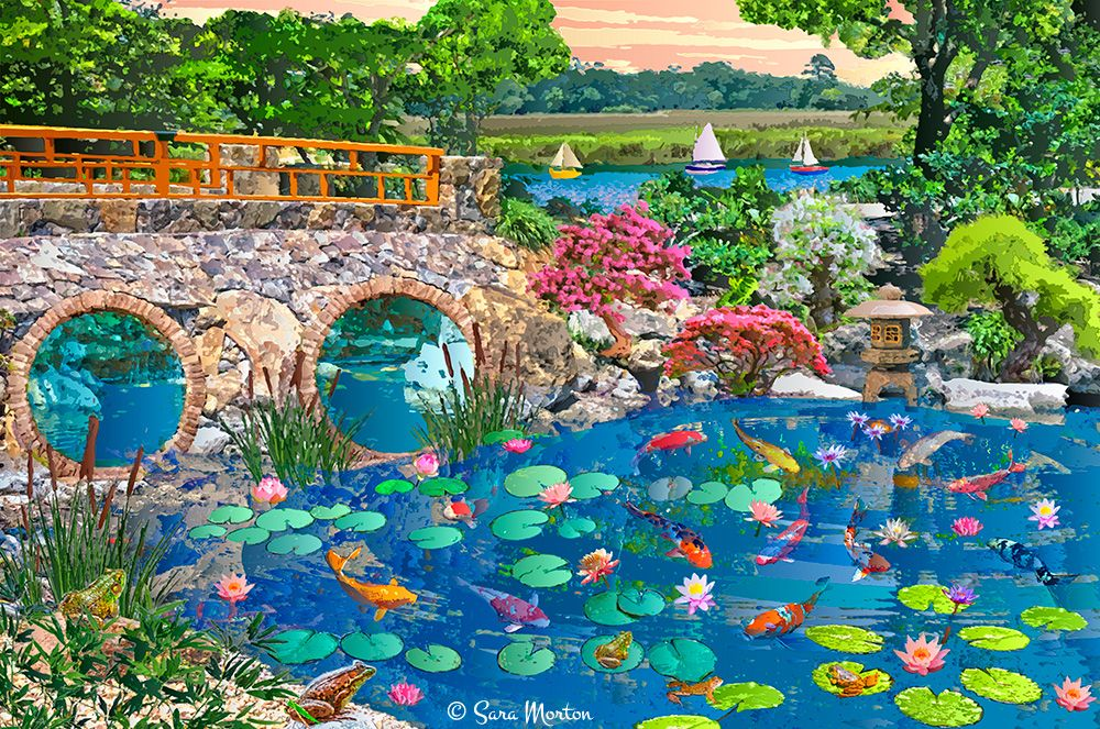 Wishing fish pond digigraph painting of japanese water for Koi water garden