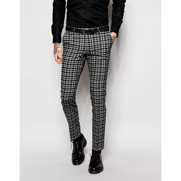 Noose & Monkey Monochrome Check Suit Trousers In Super Skinny Fit ...