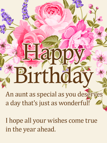To my special aunt happy birthday wishes card happy birthday lavender happy birthday wishes card birthday greeting cards by davia m4hsunfo Gallery
