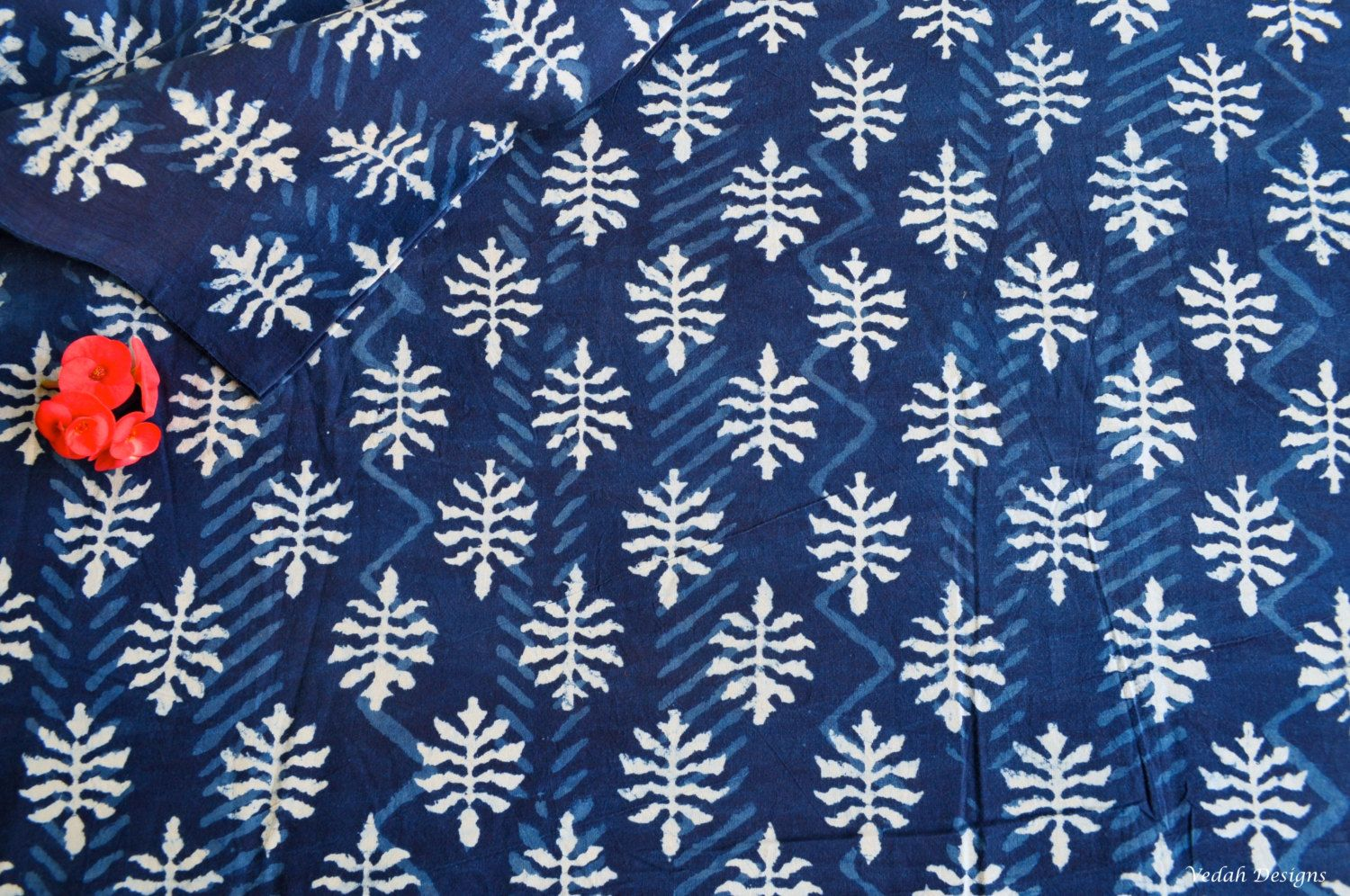 Top quality Natural dyed Indigo cotton supply wholesale leaf design block print fabric sold by yard by VedahDesigns on Etsy