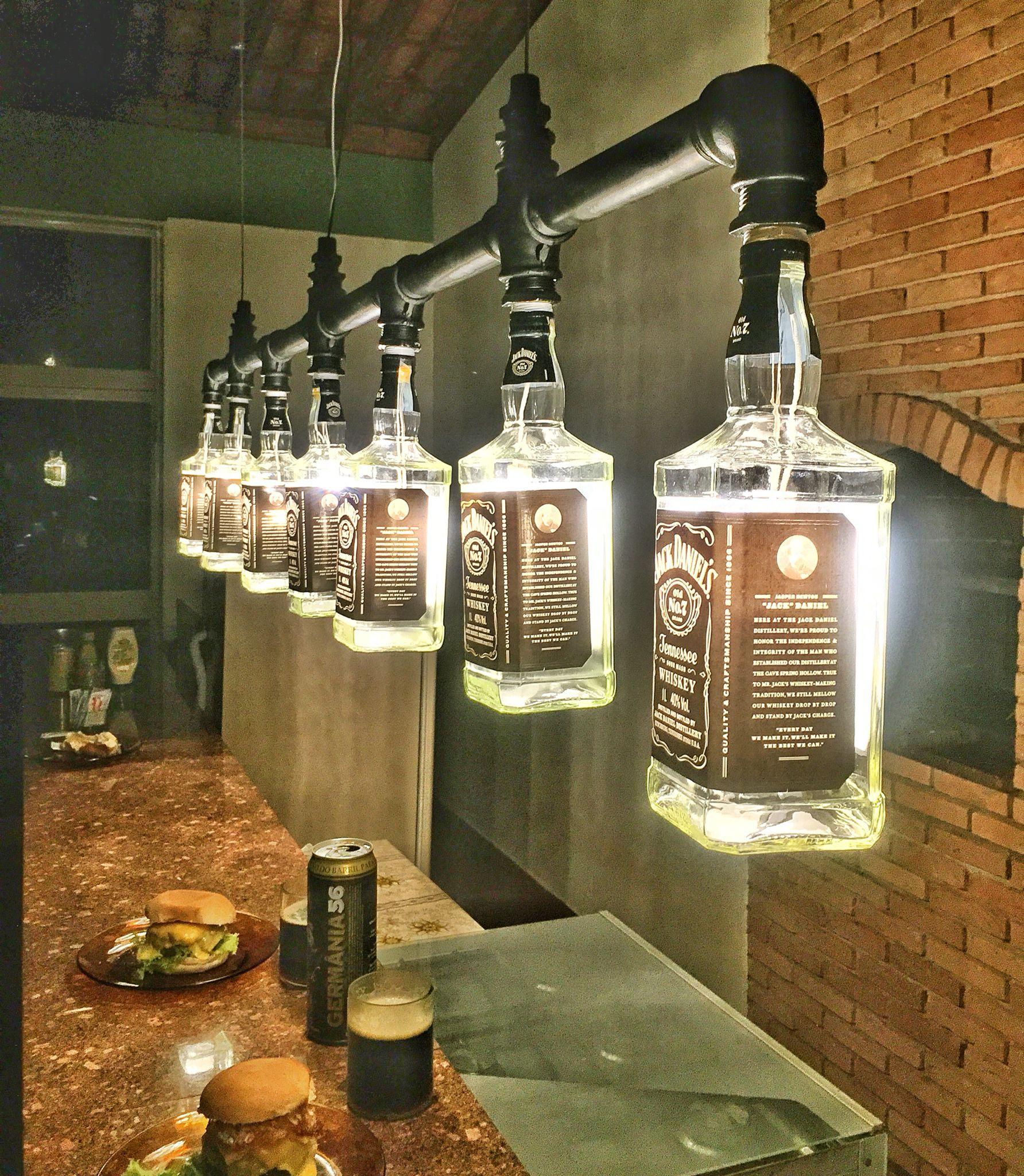 Lustre Industrial Garrafas Jack Daniel S Garrafa Industrial Y Bar # Muebles Para Guardar Whisky