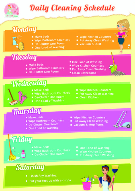Daily Cleaning Schedule from Stay at Home Mum #cleaning #schedule