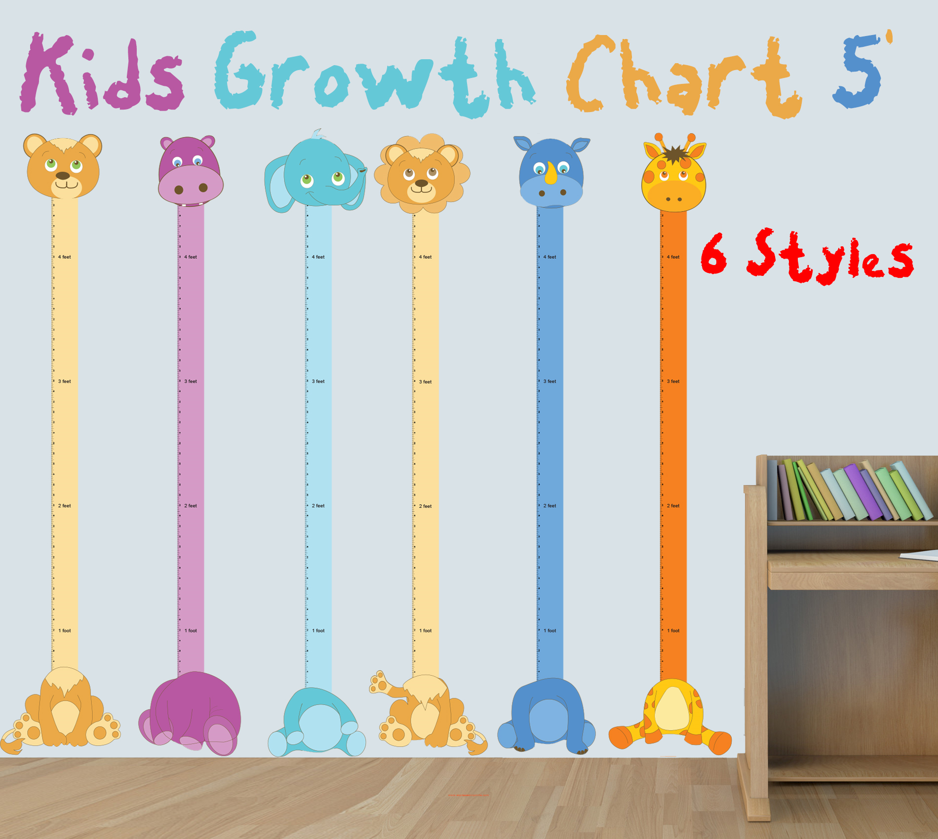 Kids animal growth chart decal giant ruler nursery wall decals this wall decal lets your kids mark there growth history for many years with this cute animal growth chart decal nvjuhfo Image collections
