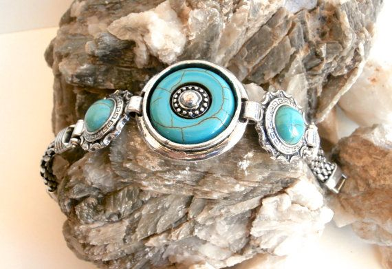 Faux Turquoise Bracelet  Vintage Silvertone by ReTainReUse on Etsy