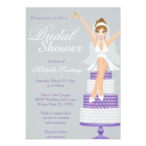 Chic White Wedding Theme: Chic Modern White & Purple Bridal Shower Invite