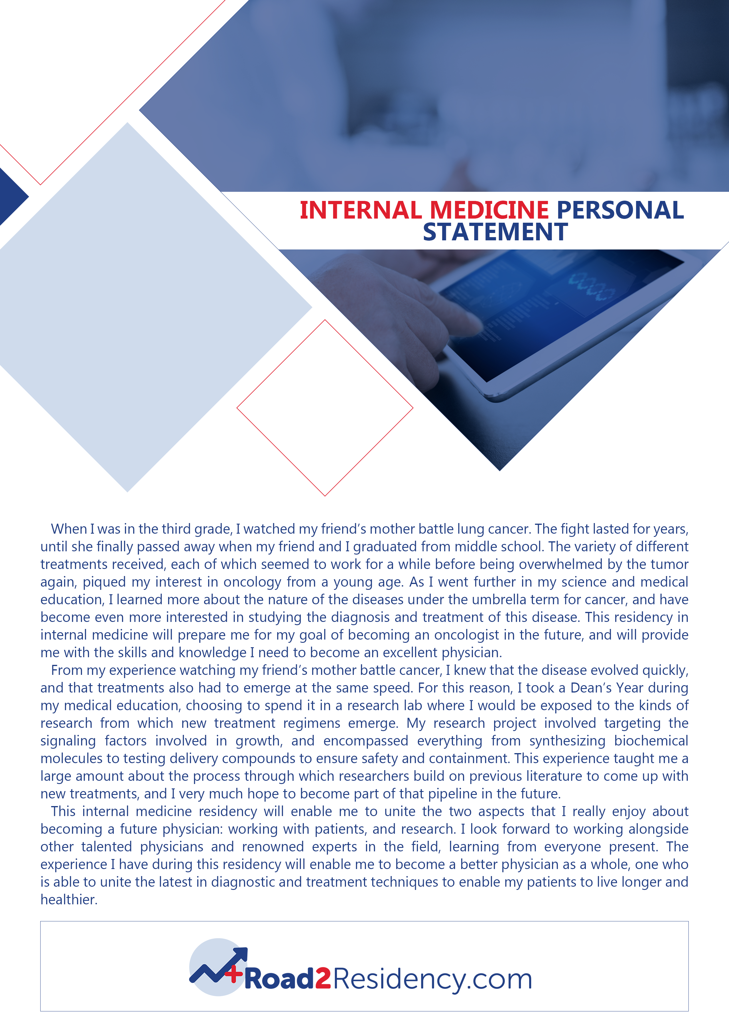 internal medicine residency personal statement sample that will show you how it should be done