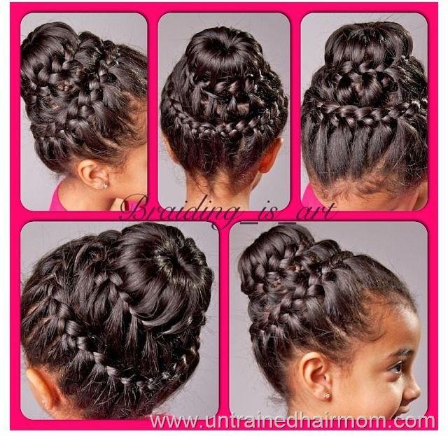 Double Crown Braid With Donut Bun Tutorial Hair Styles Kids Braided Hairstyles Kids Hairstyles
