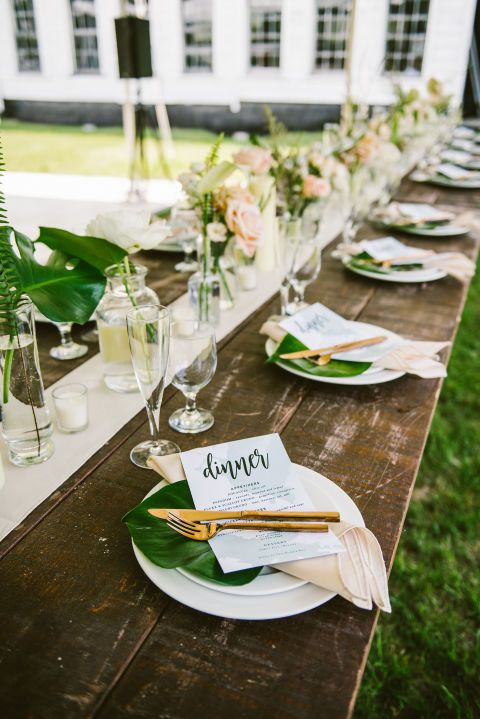 The duo behind NYC's chic eateries The Garrett and Dinnertable got hitched in a chic barnyard farm wedding: Rustic modern wedding place setting with gold silverware