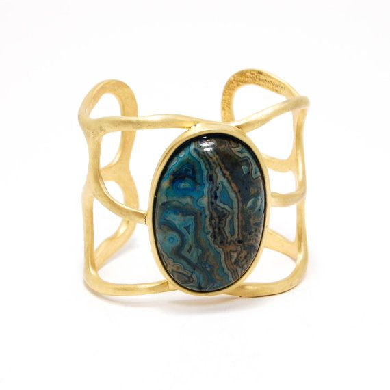 Amazonite Cuff Bracelet, Wide, Gold Tone, Shelia Fajl, Designer Jewelry, Minimalist, Mod
