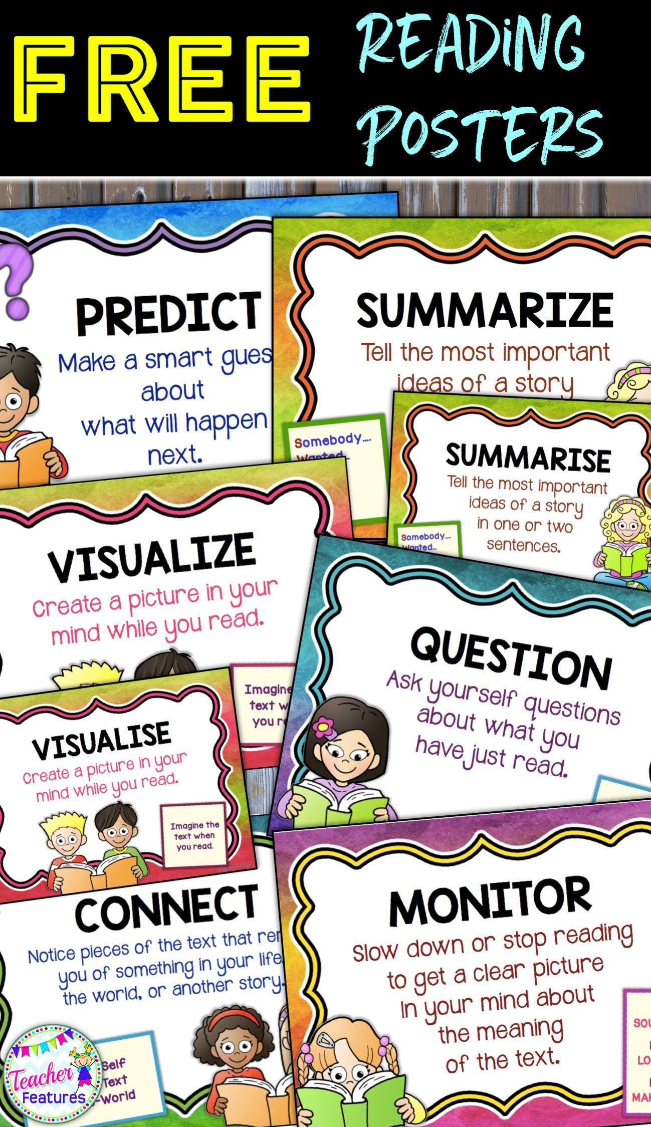 These Free Reading Comprehension Posters Focus On The Super Six Strategies Rainbow Theme