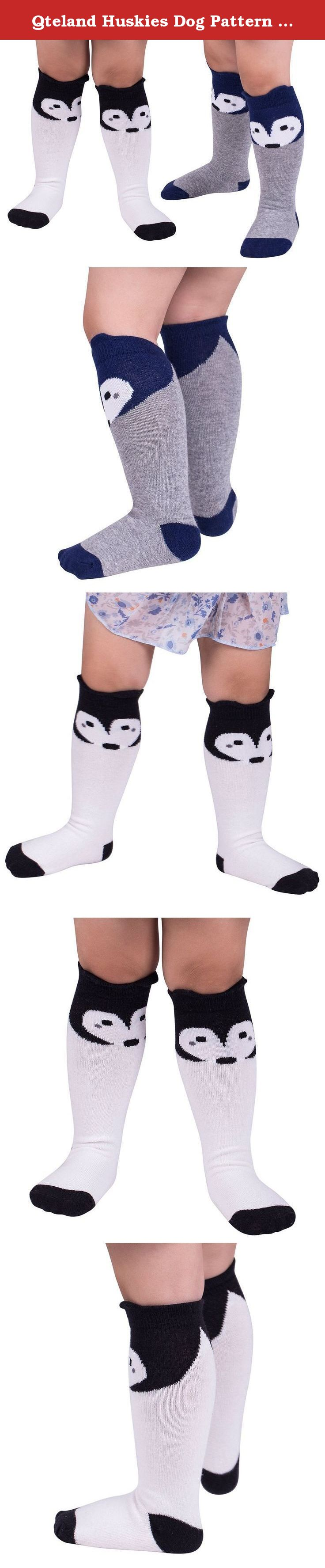Qteland Huskies Dog Pattern Unisex-baby Knee High Socks Tube socks for Kids 2-pack (L(4-6 years), Mix). Qteland Cotton high knee socks for Babies are an adorable and fashion item dress up your little one. Look for all of our adorable high knee socks! Available in stripes, Geometry,fox,cat,Mickey Mouse,bear, rabbit and so on. A material composition for comfort these socks are made of 75% cotton, 20% polyester, and 5% spandex for a snug, comfortable fit. Three size for your choose Size S: 0-12...