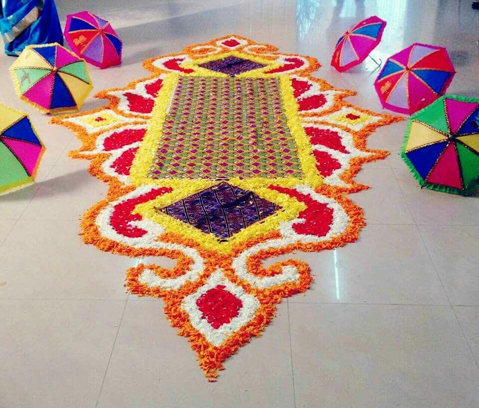 Yashoda Yatra Flower rangoli, Rangoli designs, Bridal