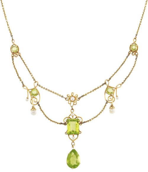 fcfe944e1e030 Antique Gold, Peridot and Freshwater Pearl Swag Necklace. 14 kt ...