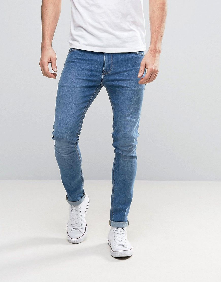 DESIGN super skinny jeans in mid blue | Products in 2019