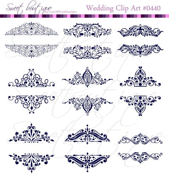 NAVY BLUE 9 Vintage Calligraphy Clip Art Clipart by MSweetboutique