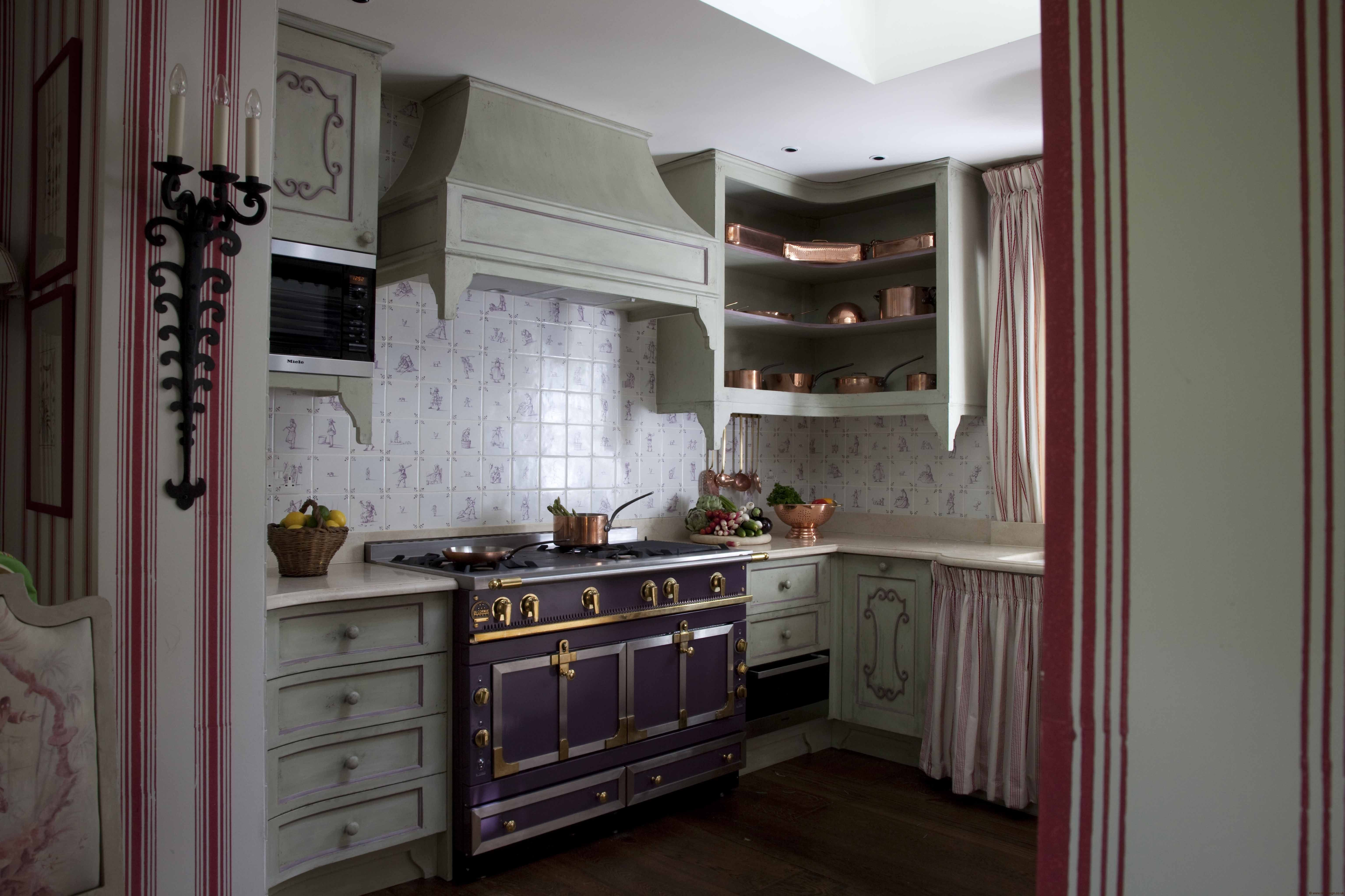 Nicky Haslam Kitchen In London Purple Stove With Light Green Cabinets