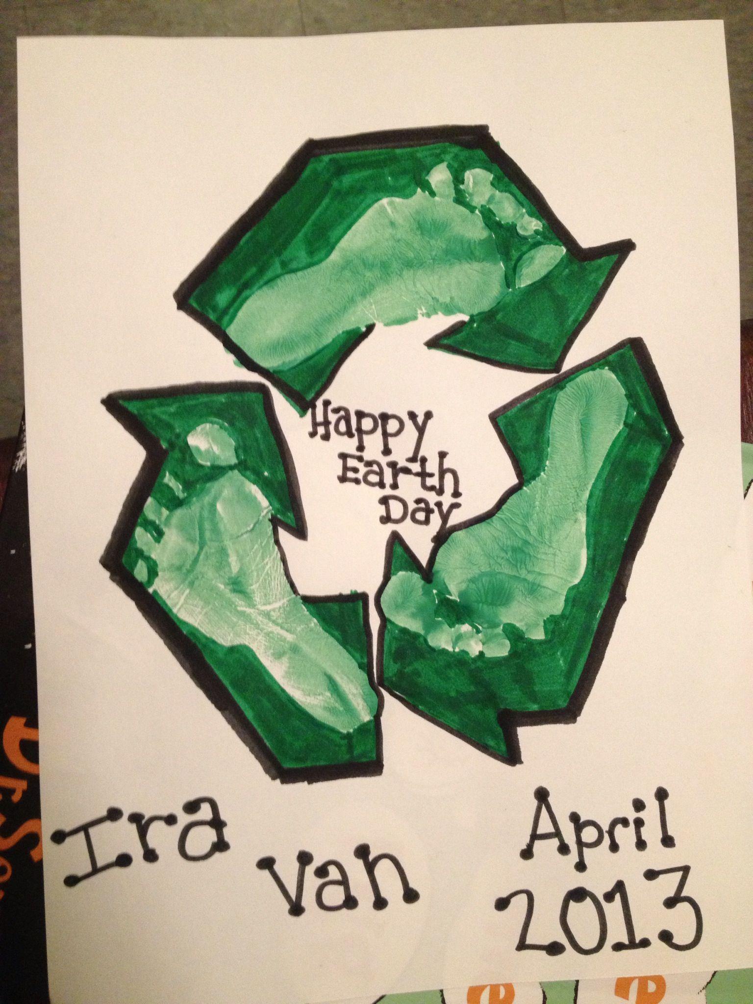Earth Day Baby Footprint Art