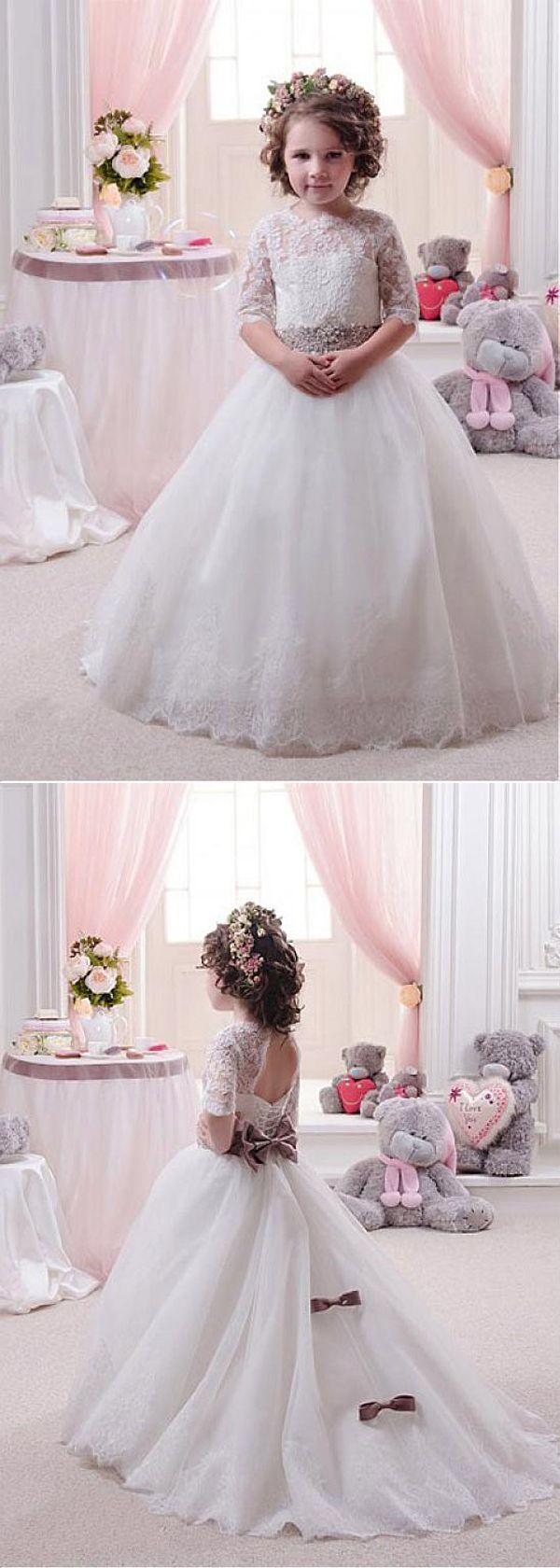 Charming tulle u satin jewel neckline ball gown flower girl dresses