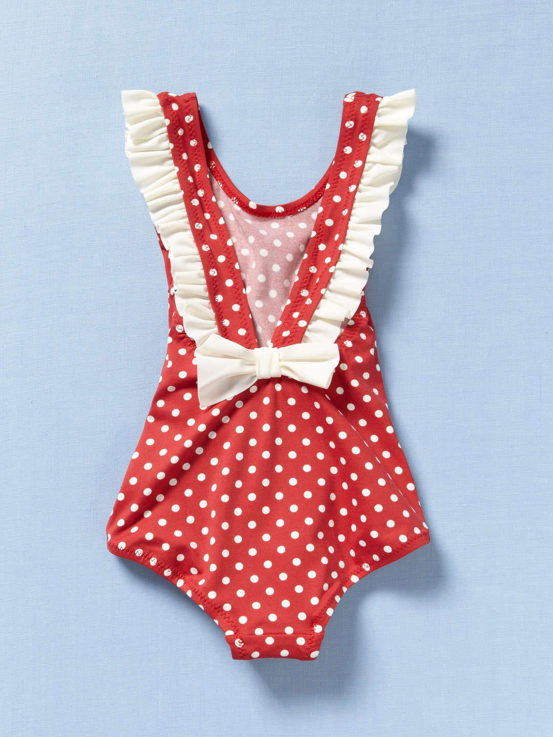 b543128bf Love little girl swimming suits that aren't bikinis! Bow-back red and cream  polka dot swimsuit.