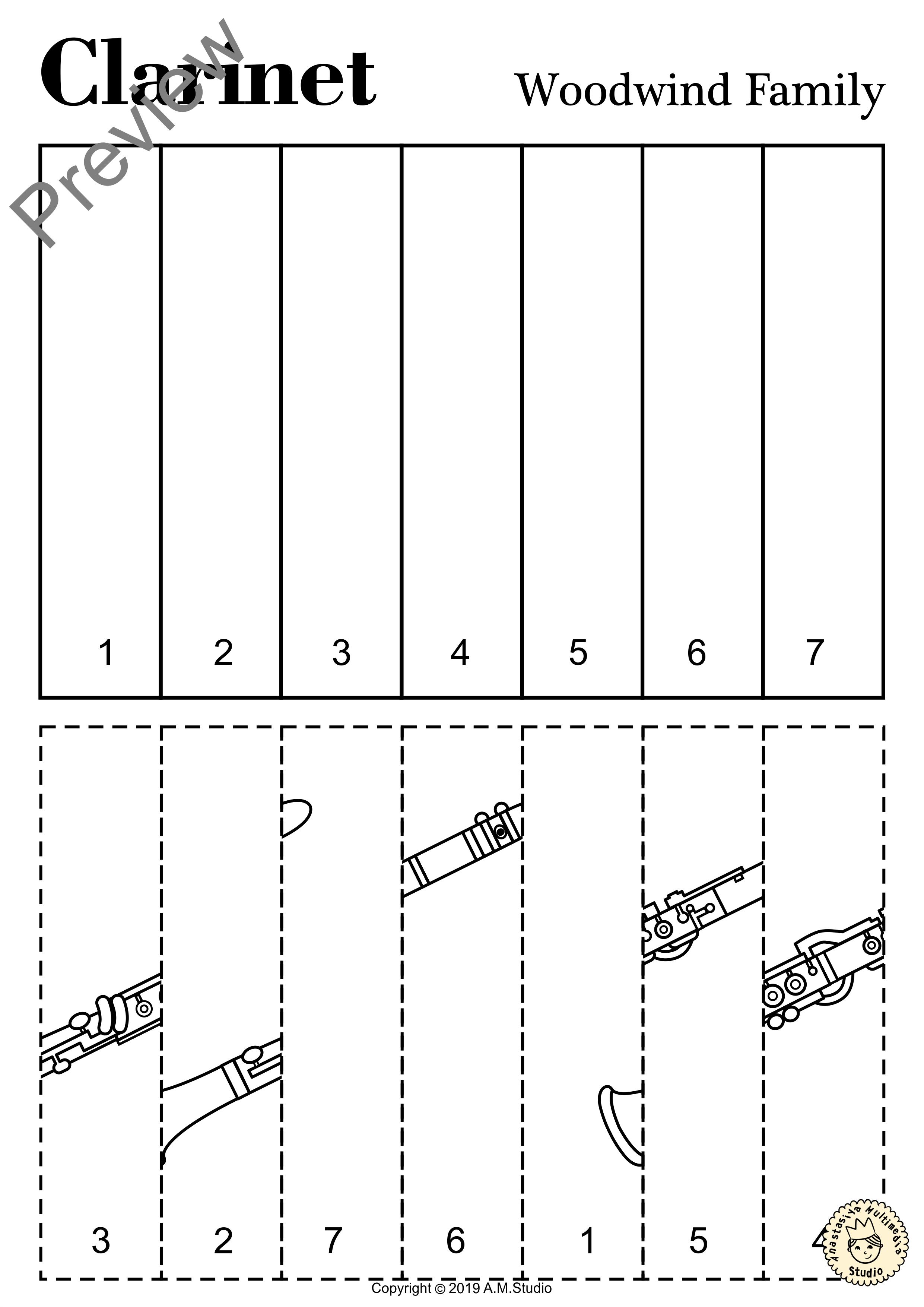 Woodwind Instruments Line Puzzles