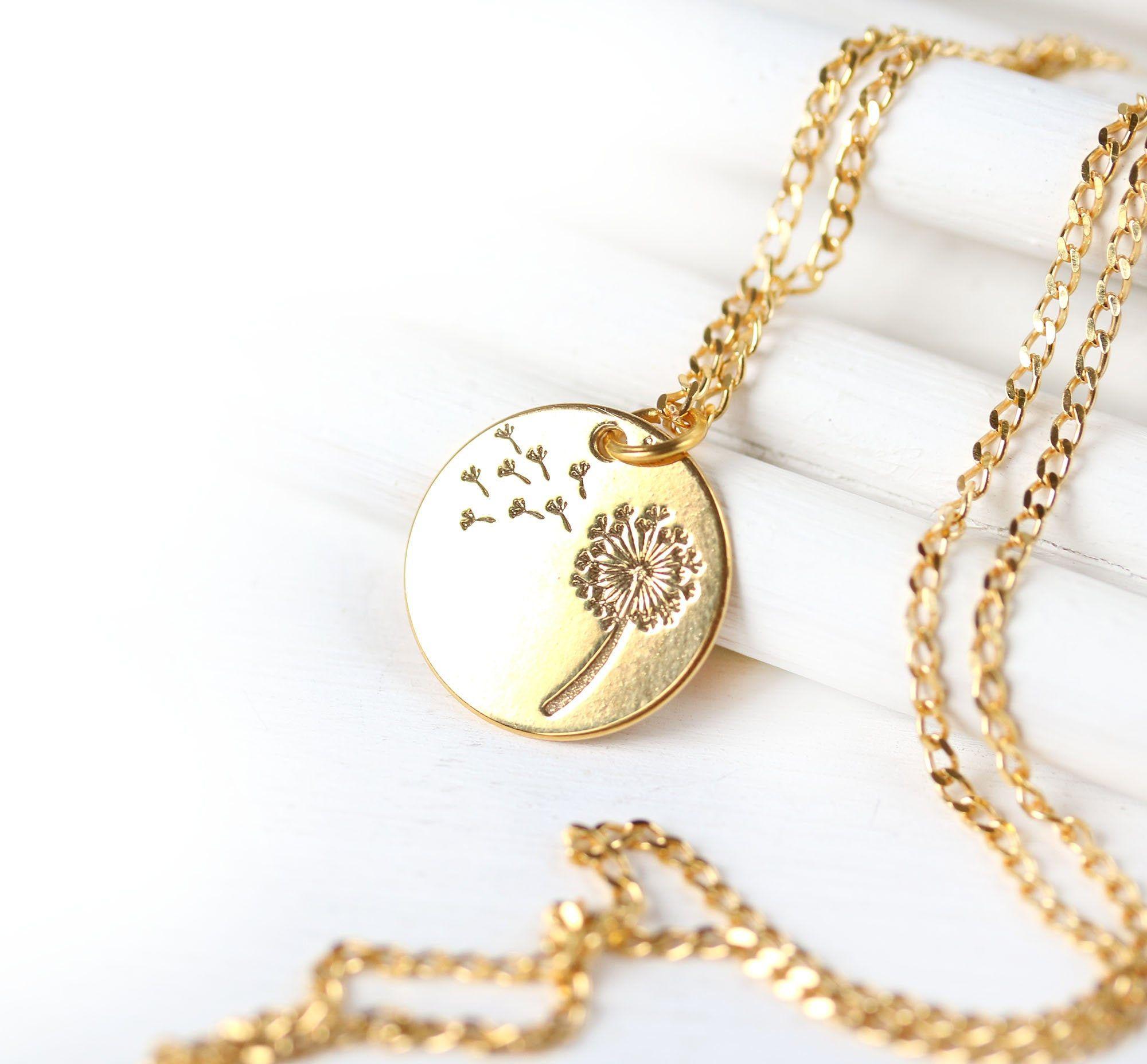 Golden Dandelion Necklace Dainty Feminine Women Jewelry Gold Dandelion Flower Jewelry Wish Necklace Jewelry Gift Guide Dandelion Necklace Jewelry