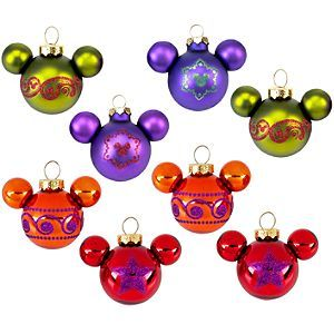 Disney Bohemian Holiday Glass Mickey Mouse Ornament Set 8 Pc Disney Store Disney Christmas Ornaments Mickey Mouse Ornaments Disney Decor
