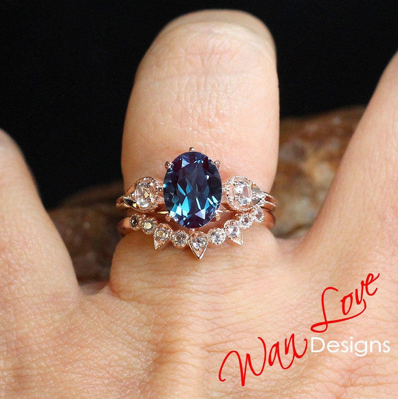 Alexandrite & Diamond Oval Milgrain Engagement Ring Set