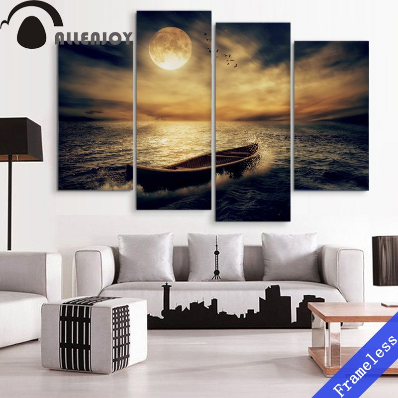 4 Pieces Night Sea Surface Moon Boat Modern Wall Art Decor Home Decoration Picture Paint Canvas
