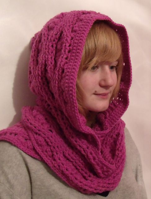 Scoodie Hooded Scarf Cable and Cluster pattern by Thomasina Cummings ...