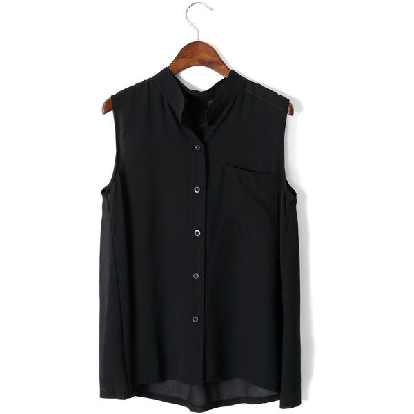 9596665fa48551 Chicwish Laidback Pocket Chiffon Top in Black ( 20) ❤ liked on Polyvore  featuring tops