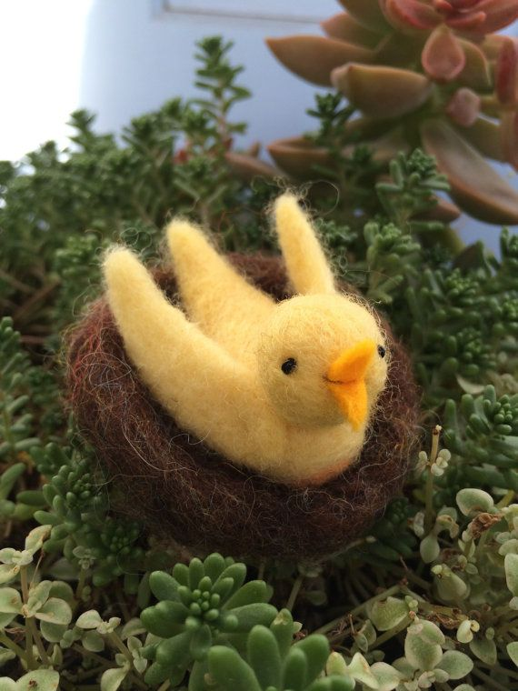 Wee Sunshine Birdie in a Nest by TheSingingBird on Etsy