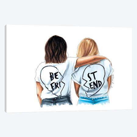 Best Friends Canvas Artwork By Elza Fouche Icanvas Best Friend Canvas Friends Illustration Drawings Of Friends