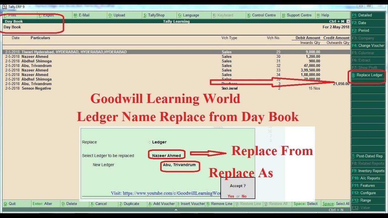 Tally Tdl For Replace The Ledger Name And Stock Item From Day Book Ledg Day Book Day Books