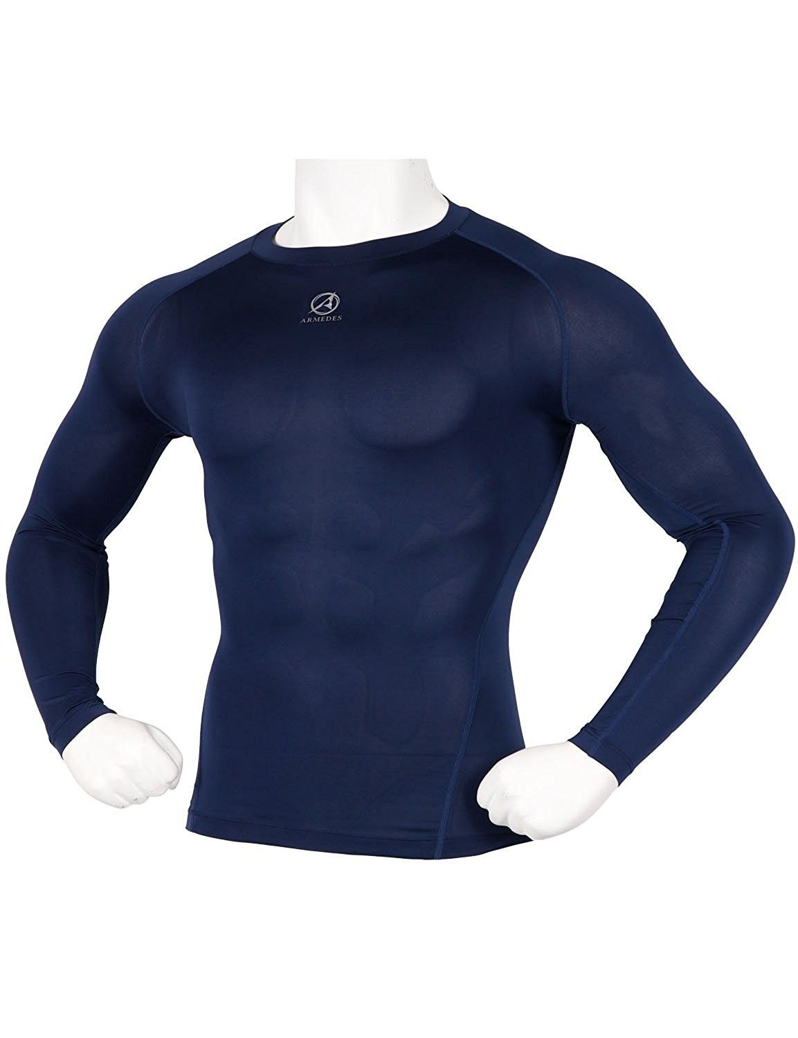 bd904765eb22a ARMEDES Men's Compression Quick Dry Baselayer Activewear Light Weight Long  Sleeve T-Shirt - Kmct01_navy - CX189TLS6IY,Men's Clothing, Active, Active  Base ...