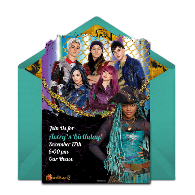 A Collection Of FREE Disney Party Invitations We Love This Design For Descendants 2 Birthday An Exciting Digital Template Thats Easy To