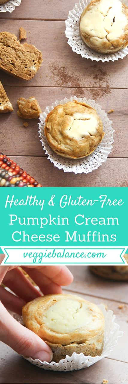 Gluten-Free Pumpkin Cream Cheese Muffins | Healthy, Low-sugar, no oil added, refined sugar-free, and gluten-free to boot. #glutenfreebreakfasts