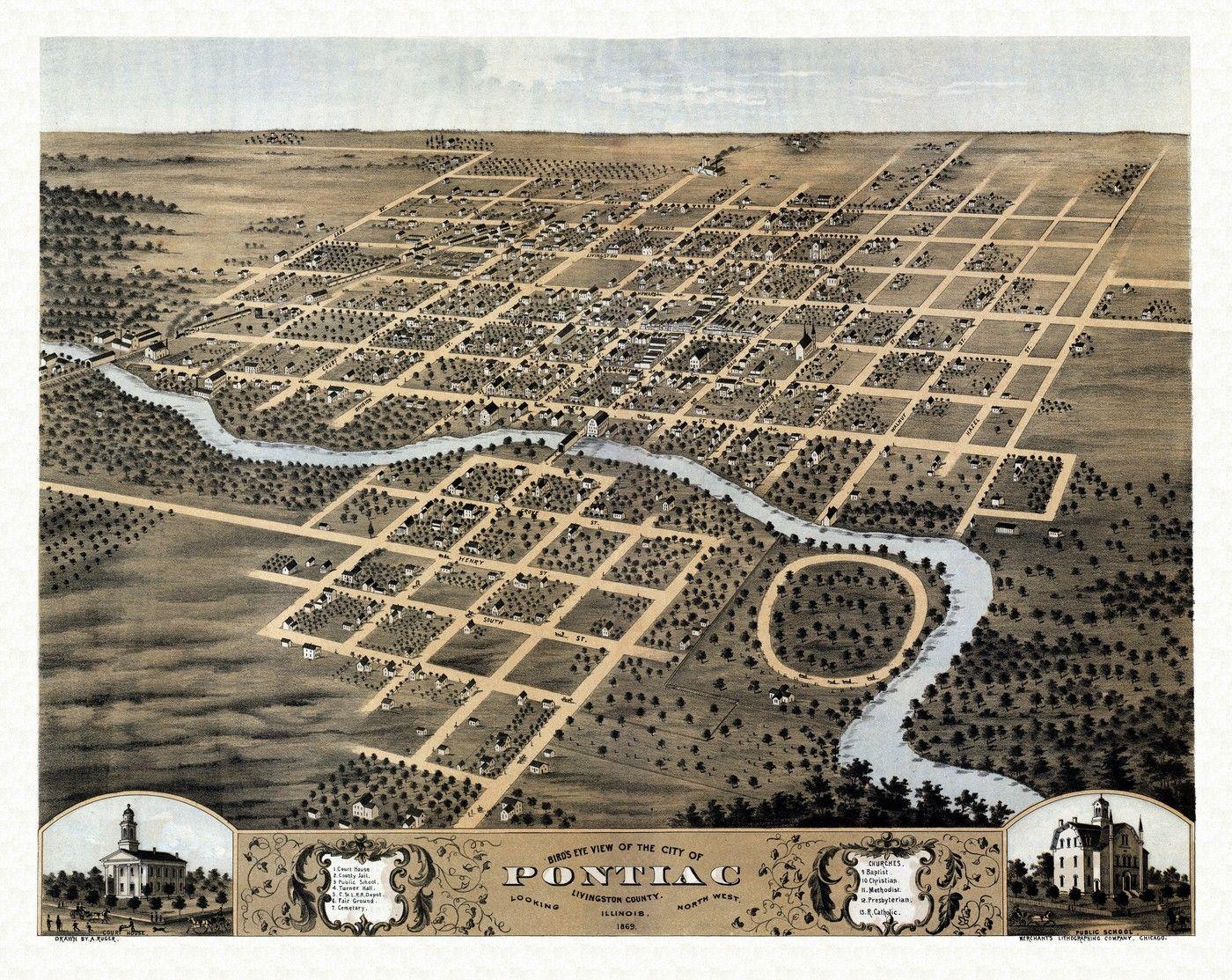 Antique Map Of Pontiac Illinois 1869 Livingston County Pontiac Il
