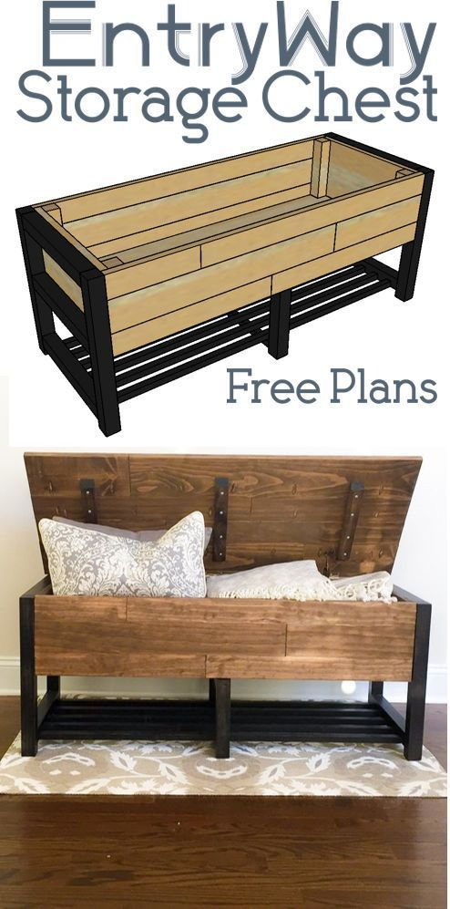 EntryWay Storage Chest -  Entry Way Storage Bench! Get the easy DIY Woodworking Plans, here! #EntrywayBench #DIYBench #WoodWo - #Chest #EntryWay #Storage