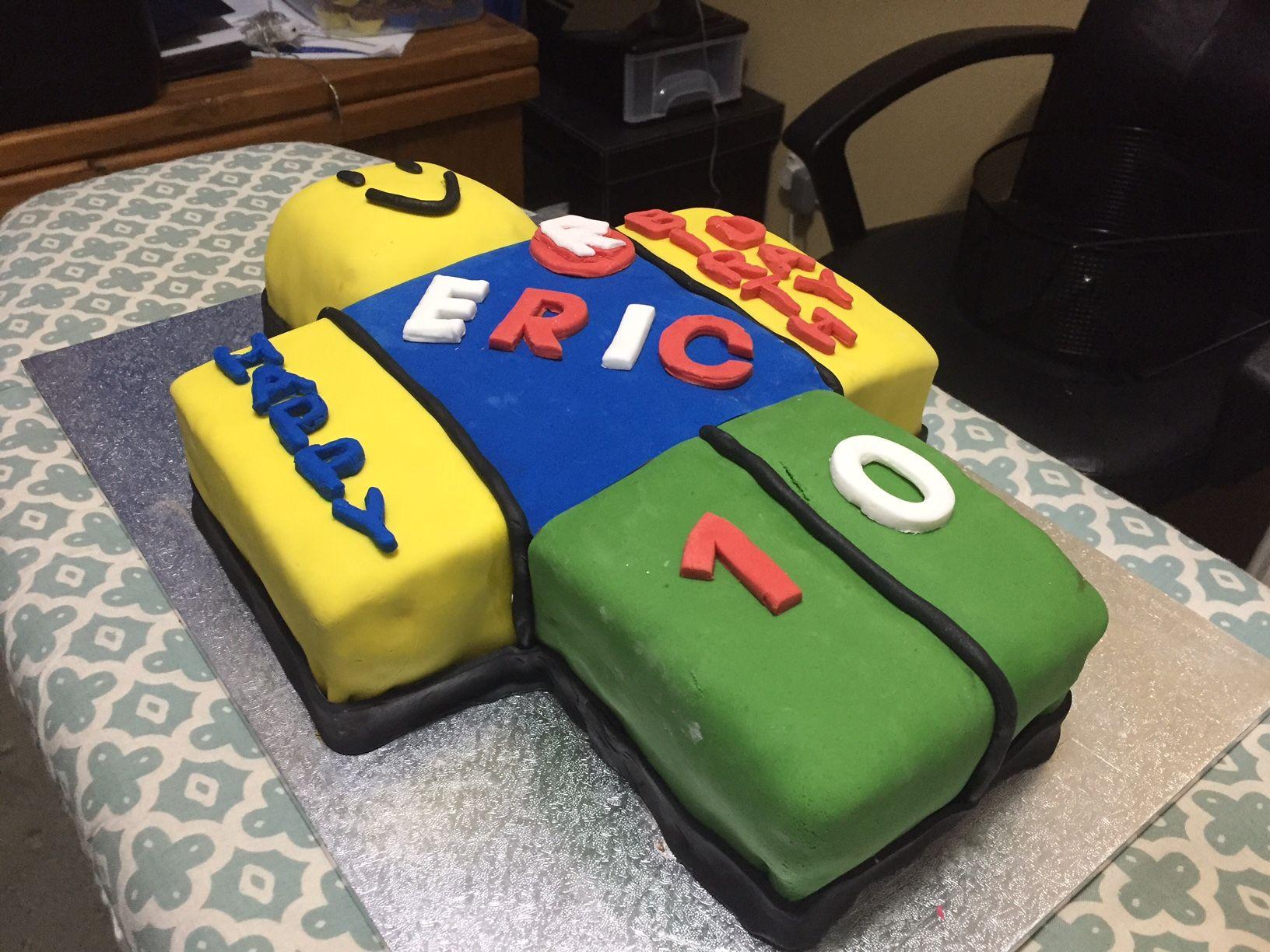 My sons Roblox noob cake Noob cake Pinterest Cake Birthdays