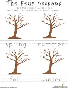 Writing the Four Seasons | Seasons worksheets, Seasons ...