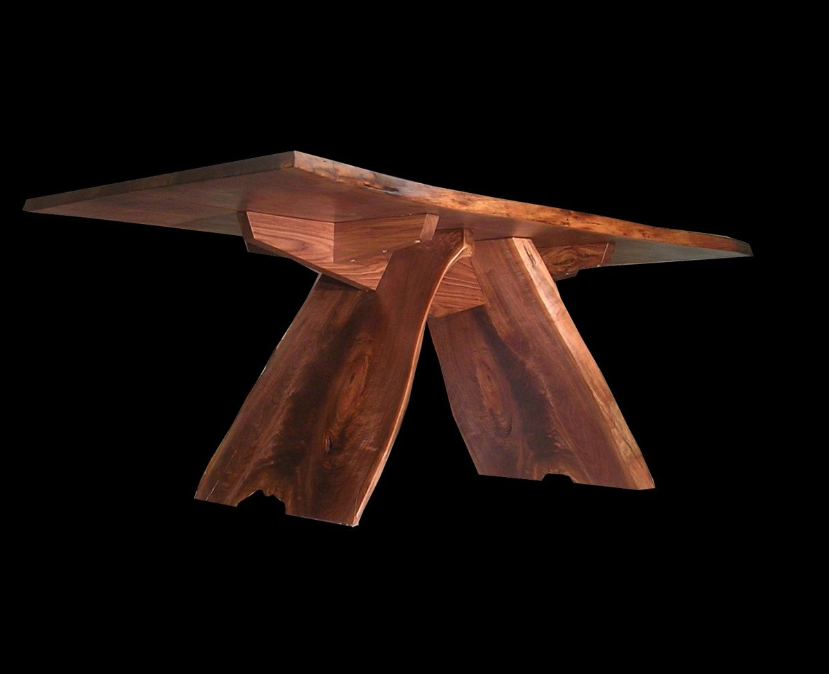 Pyramid Base Live Edge Slab Dining Table In 2020 Log