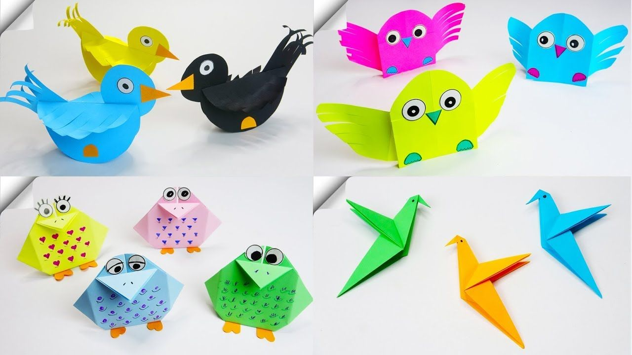 5 Diy Paper Crafts For Kids Paper Birds Pájaros De Papel Manualidades Manualidades Para Niños